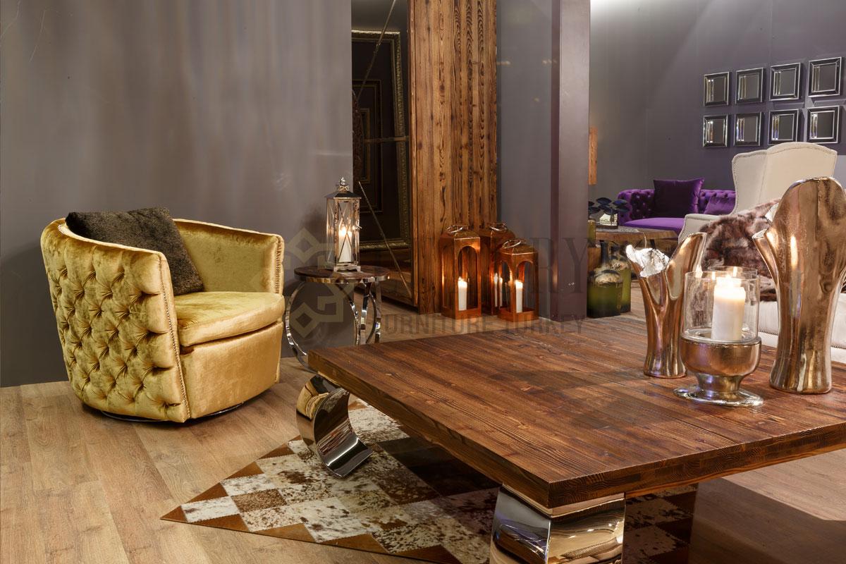 Luxury Orta Sehpa Yan Sehpa Tekli Koltuk