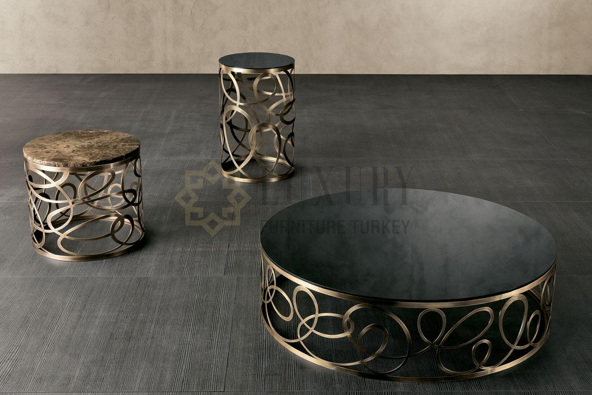 Dubai Ev Dekorasyonu Al Badia Residences Luxury Mobilya Projesi Metal Mermer Sehpa Marble Coffee Table